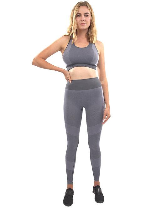 Arleta Seamless Leggings & Sports Bra Set - Grey