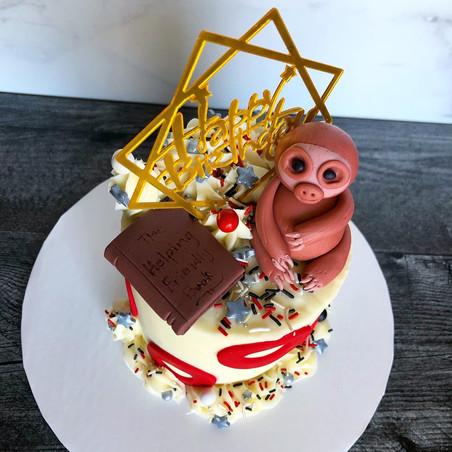 "Phish Sloth themed 4"" birthday cake"