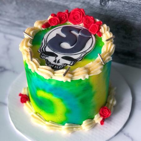 Tie-dye Grateful Dead/SCI Cake
