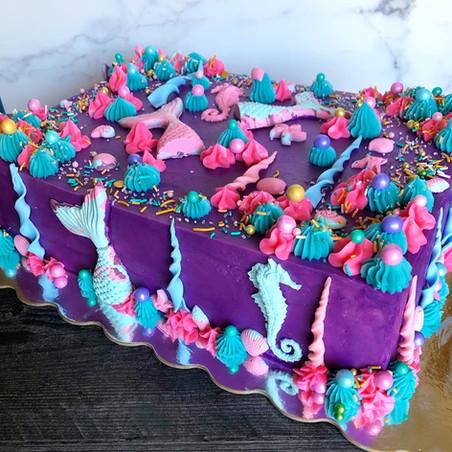 Mermaid themed quarter sheet cake