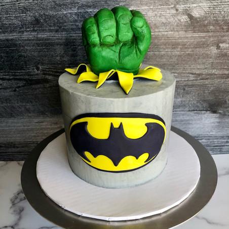 Hulk/Batman Cake