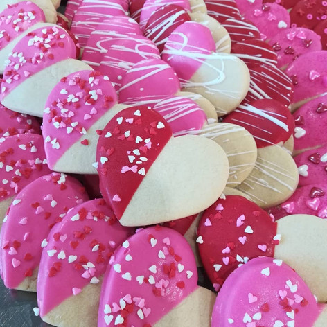 Valentine's Day chocolate dipped cookies