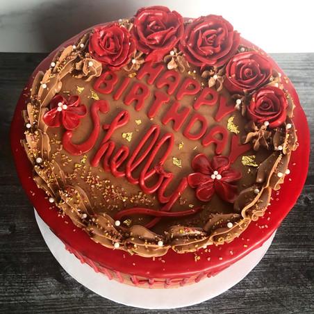 Chocolate birthday cake with buttercream roses
