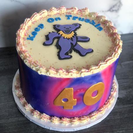Grateful Dead tie-dye cake