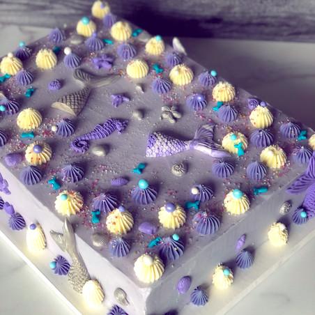 Purple/Silver Mermaid Cake
