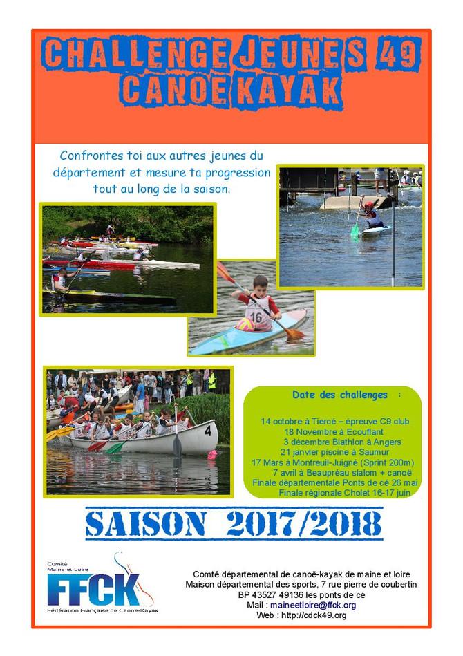 Challenge jeunes 49 CANOË KAYAK                            2017/2018