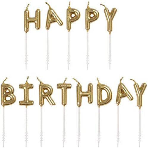 Happy Birthday Gold Letter Pick Birthday Candles