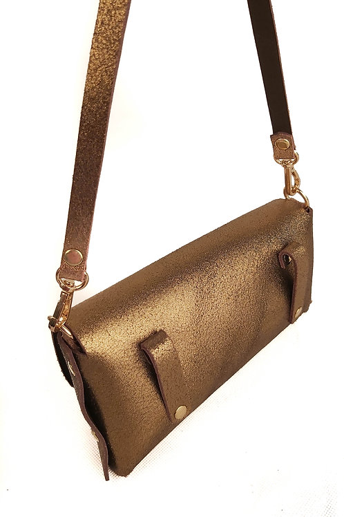Handcrafted Bronze Leather Purse & Cross Body Bag