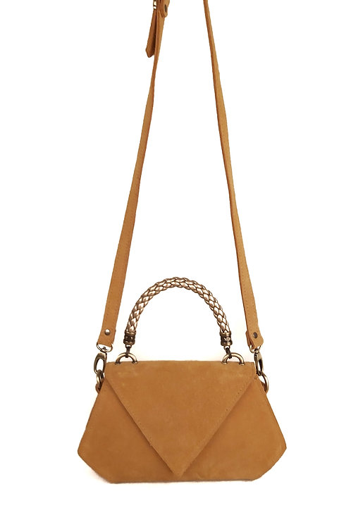 Handcrafted Suede Polygon Shaped Shoulder Bag