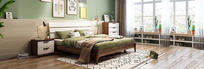 新麗屋柚木床組 - 雙人床/單人床