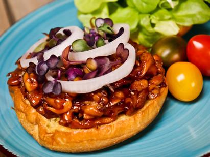 Pulled Lion's Mane BBQ Sandwich