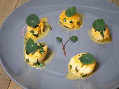 Fancy Pancy Sea Scallops in Nasturtium Lemon Butter