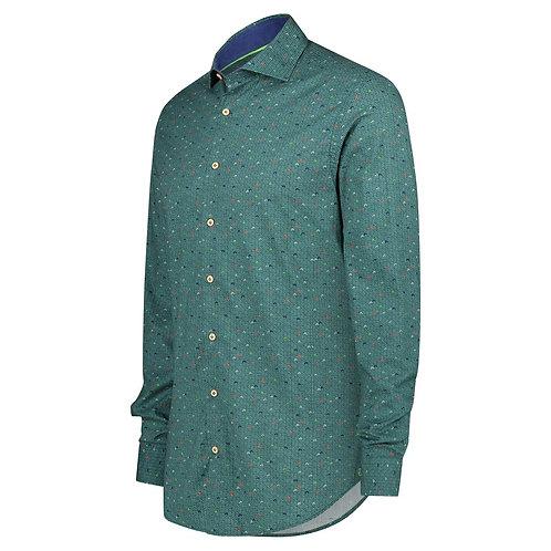 Printed Shirt Knit Blue Green
