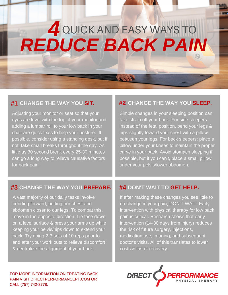 Direct Performance shares 4 quick and easy ways to reduce back pain