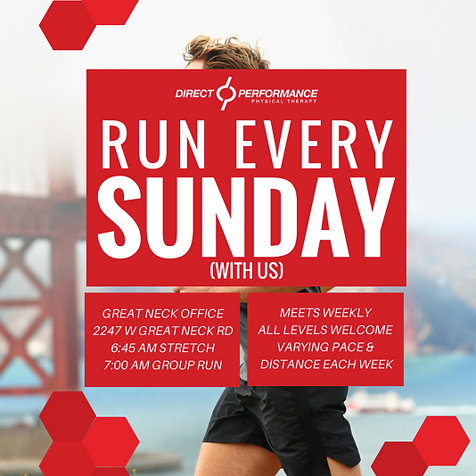 Direct Performance Physical Therapy invites you to join the Sunday Group Run. It doesn't matter the pace, distance, or your experience level! Everyone is welcome to join. Virginia Beach and Norfolk, Virginia.