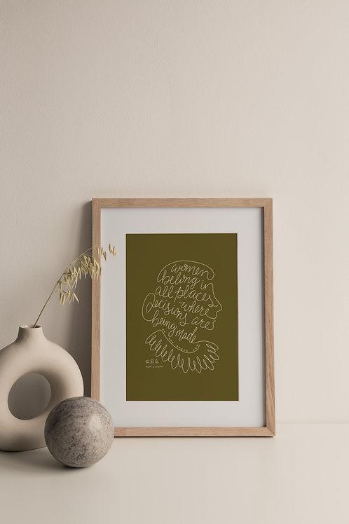 Women Belong Giclée Print - Moss (Right Facing)