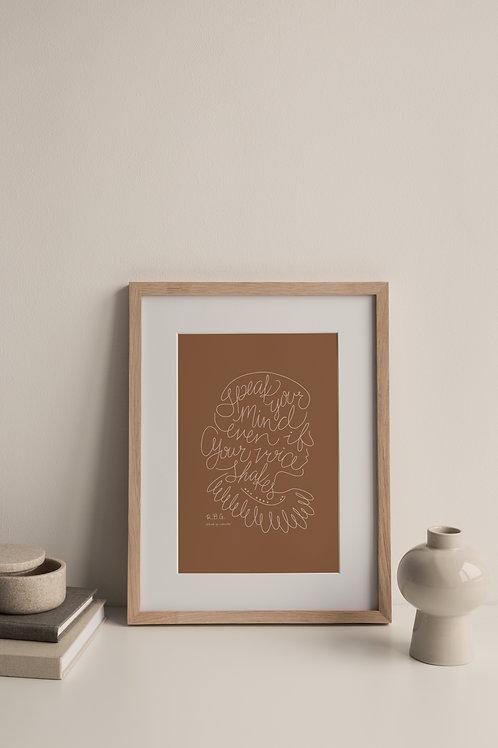 Speak Your Mind Giclée Print - Terracotta (Right Facing)