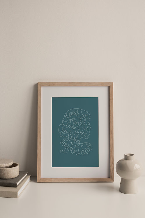 Speak Your Mind Giclée Print - Blue (Right Facing)