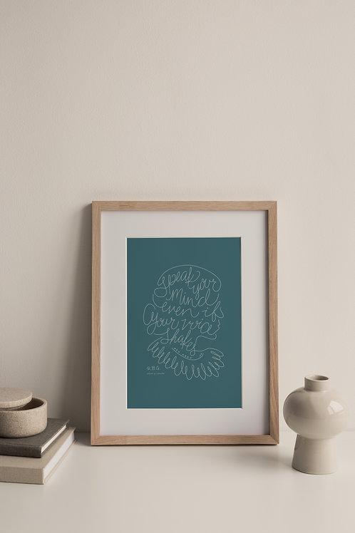 Speak Your Mind Giclée Print - Blue (Right Facing)