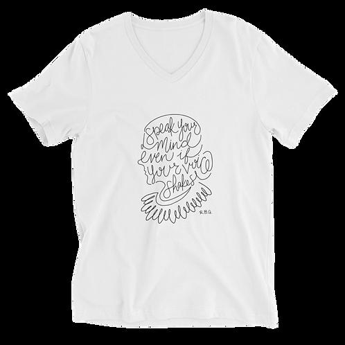 RBG Unisex V-Neck Shirt (White) - Speak Your Mind
