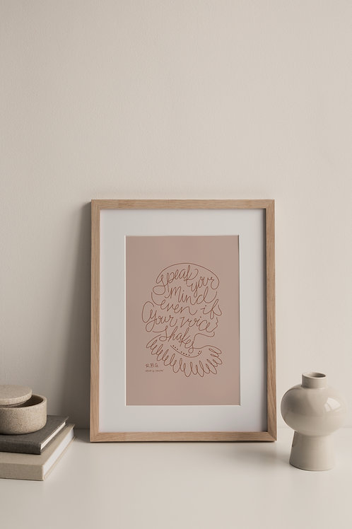 Speak Your Mind Giclée Print - Blush (Right Facing)