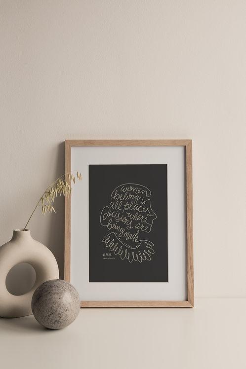 Women Belong Giclée Print - Charcoal (Right Facing)