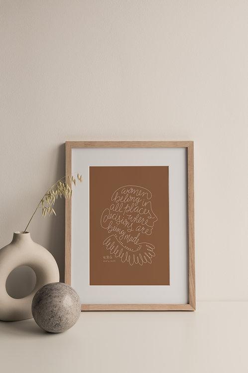Women Belong Giclée Print - Terracotta (Right Facing)