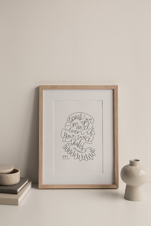 Speak Your Mind Giclée Print - White (Right Facing)