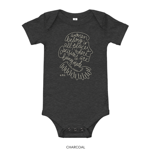 RBG Charcoal Baby Onesie - Women Belong