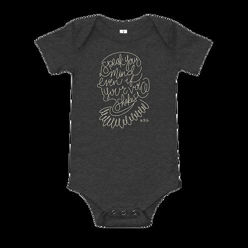 RBG Charcoal Baby Onesie - Speak Your Mind