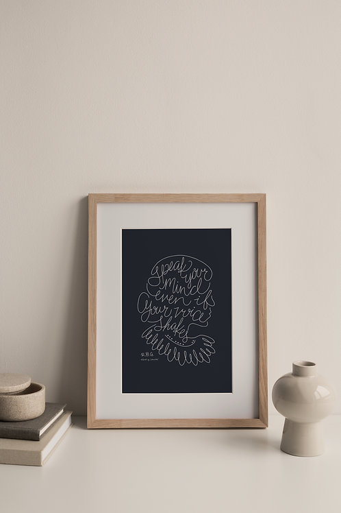 Speak Your Mind Giclée Print - Navy (Right Facing)