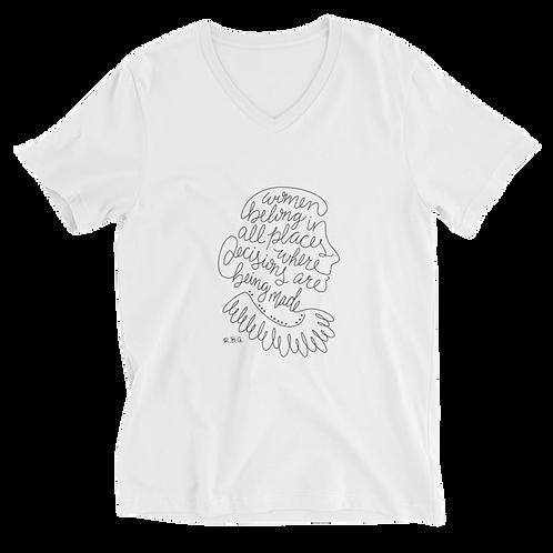 RBG Unisex V-Neck Shirt (White) - Women Belong