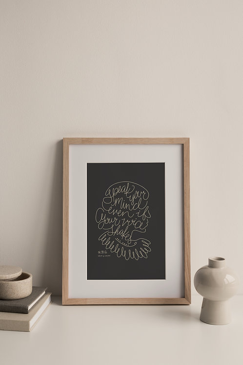 Speak Your Mind Giclée Print - Charcoal (Right Facing)