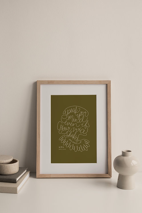 Speak Your Mind Giclée Print - Moss (Right Facing)