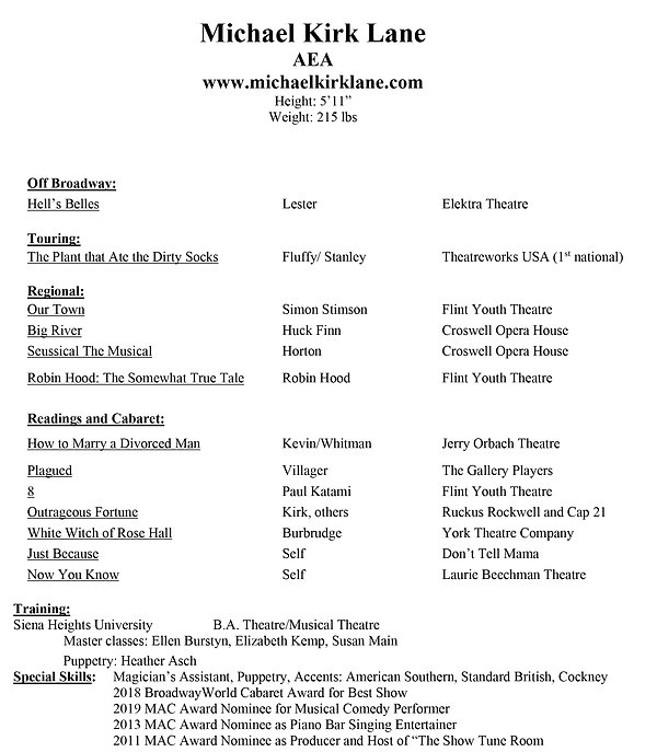 michael kirk lane acting resume feb 2020
