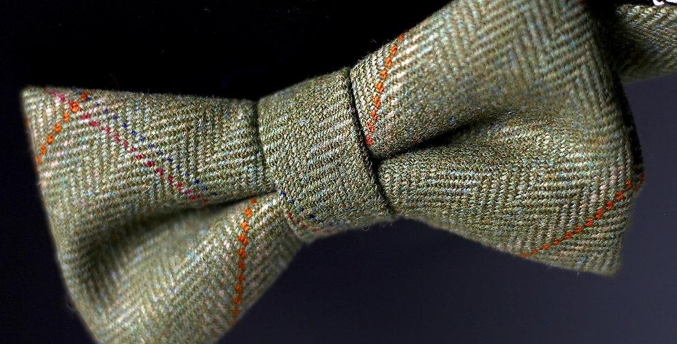T.O.C Handmade Bow Tie : Green/Orange/Red Saxony