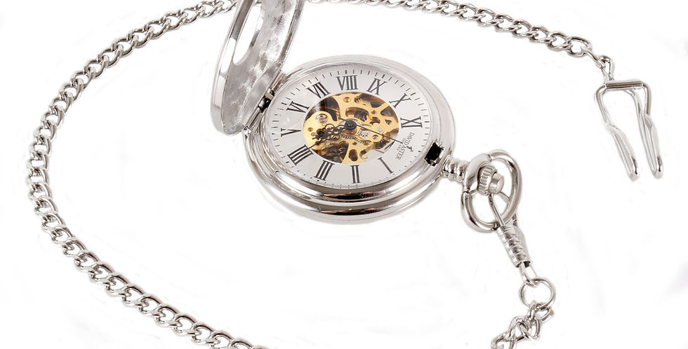 Mechanical Half Hunter Pocket Watch & Chain