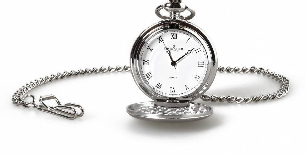 Quartz Silver Tone Pocket Watch & Chain