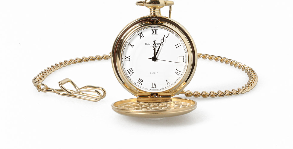 Quartz Gold Tone Pocket Watch & Chain