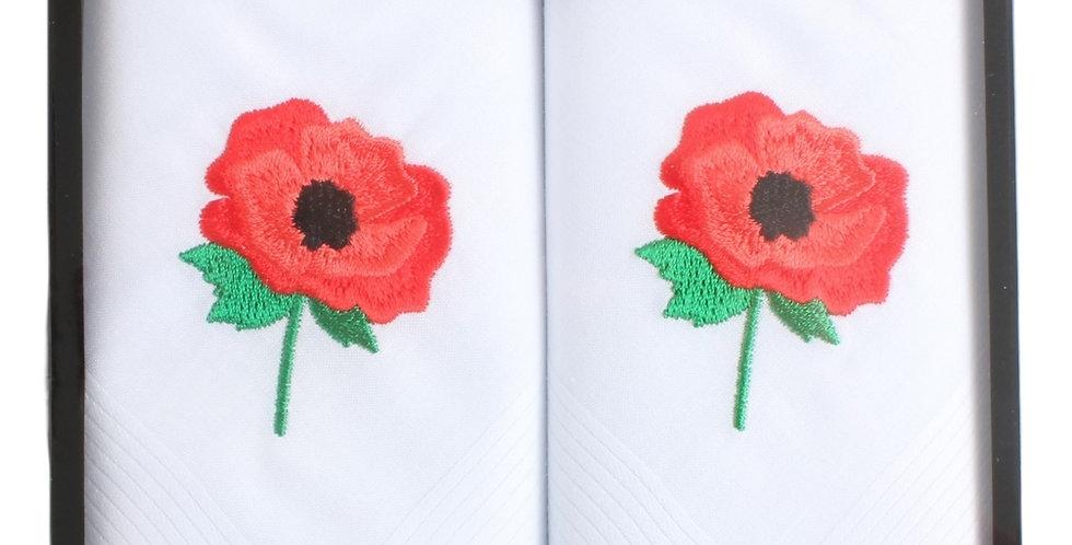 Handkerchief : Remembrance Poppy