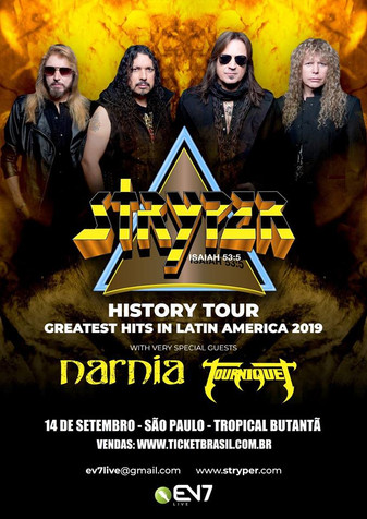 STRYPER, NARNIA, and TOURNIQUET to Play Brazil in Sept; TOURNIQUET Also Playing Norway, Sweden in Ju