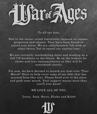 WAR OF AGES Tour Cancellation
