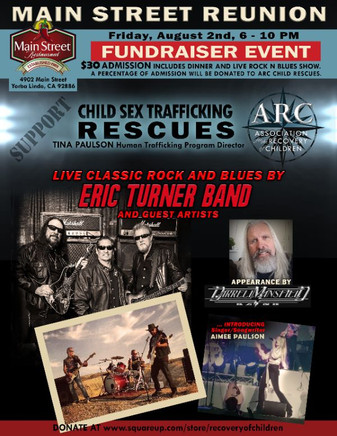 Eric Turner Band and Darrell Mansfield ROCK N BLUES BENEFIT DINNER to Support Child Sex Trafficking