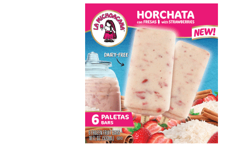 Refresh yourself this verano with our spin on the authentic agua fresca, Horchata con Fresas. Our paleta is filled with strawberry chunks and crafted with the finest horchata recipe, for the invigoration your taste buds are waiting for!