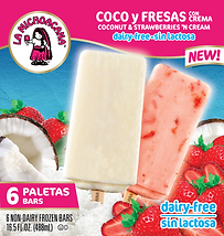 05115 La Michoacana Dairy-Free Coconut and Strawberries and Cream Paletas Frozen Fruit Bars