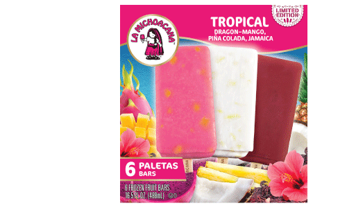 Don't miss out on a refreshing summer experience with our limited-edition sabores auténticos like agua fresca de Jamaica on a stick, Piña Colada, and Dragon Fruit with Mango featuring real fruit chunks throughout each paleta.