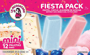 La Michoacana Fiesta Pack Paletas Ice Cream Bars Pastel Chicle Algodon de Azucar Birthday Cake Bubblegum Cotton Candy