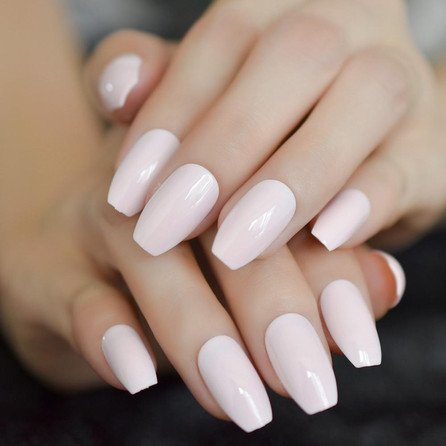 light-pink-coffin-shiny-acrylic-nails-me