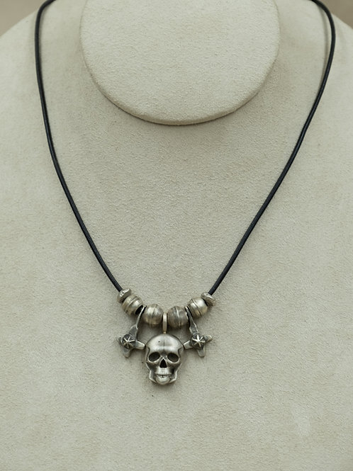 Sterling Silver Skull & Beads on Leather Necklace by John Rippel