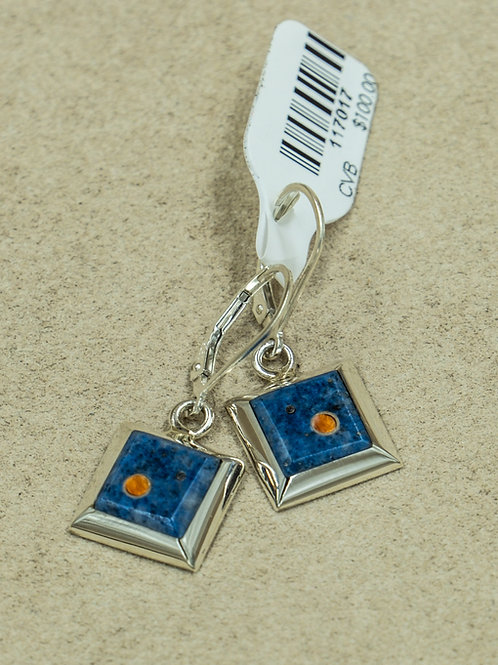 Sterling Silver w/ Small Square Lapis, & Coral Earrings by Veronica Benally